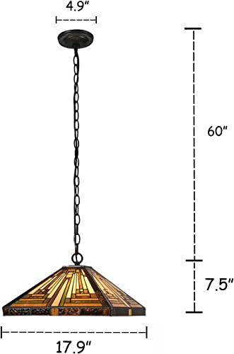 Capulina Tiffany Dining Table Lights, 17.9 Inch Wide Hanging Tiffany Style Lamp, 2-Light Stained Glass Lighting Fixtures, Stained Glass Dining Room Lights, Mission Style Tiffany Pendant Lights