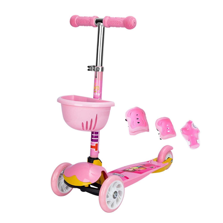 Kinder Roller Dreirad-Roller Auto Ausbalancieren DREI-Gang-Hubeinstellung Kann Gefaltet Werden Flash-Rad 2-4 Jahre Alt Rosa