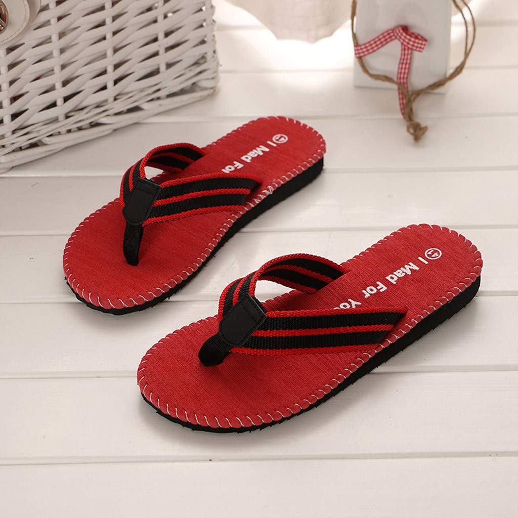 kaifongfu Summer Fashion Men's flip Flops Beach Sandals for Men Flat Slippers Non-Slip Shoes(Red,44) by kaifongfu (Image #8)