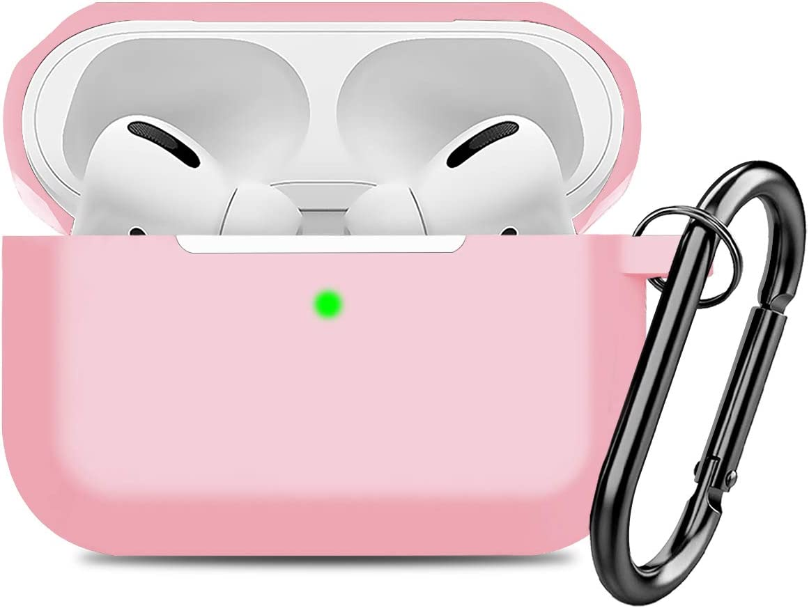 Compatible AirPods Pro Case Cover Silicone Protective Case Skin for Apple Airpod Pro 2019 (Front LED Visible) Light Pink