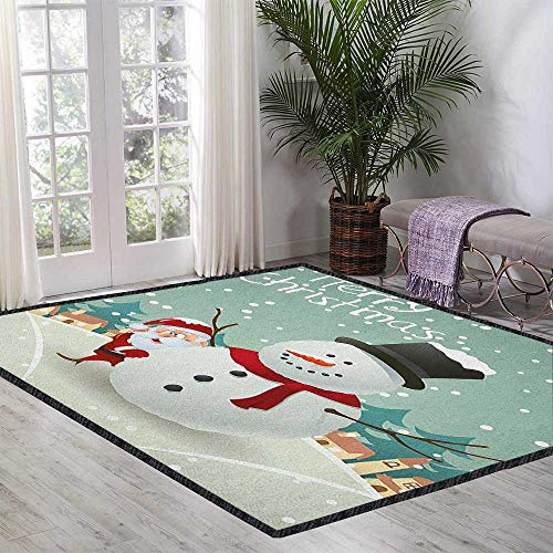 Christmas Contemporary Indoor Area Rugs,Merry Christmas Cartoon with Santa Snowman Pines Houses Winter for Residential or Commercial Use Almond Green Eggshell Red 47