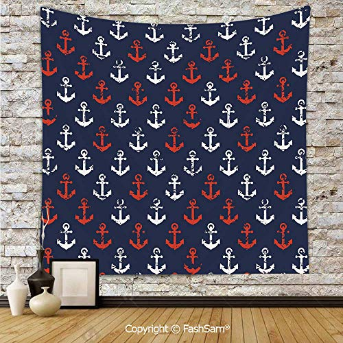 FashSam Tapestry Wall Hanging Abstract Sea Theme with Grunge Display Worn Looking Marine Icons Decorative Tapestries Dorm Living Room Bedroom(W59xL78)