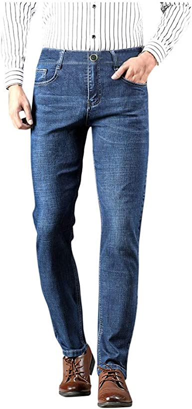 Buyaole Pantalones Vaqueros Hombre Pantalones Vaqueros De Negocios Casuales De Moda Para Hombres Pantalones Rectos Pantalones De Algodon Amazon Es Ropa Y Accesorios
