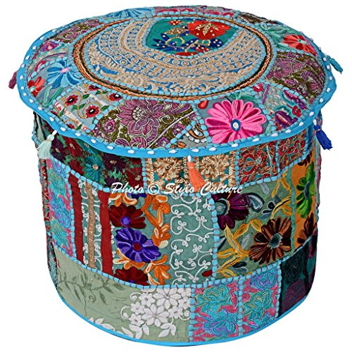 "Stylo Culture Traditional Seating Cotton Patchwork Embroidered Ottoman Stool Pouf Cover Turquoise Floral 16"" Footstool Floor Cushion Cover Ethnic Decor"