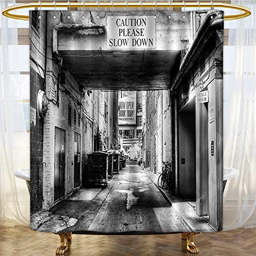 Mikihome Shower Curtains Mildew Resistant City Caution Please Slow Down Sign on Passage Town Urban Bathroom Decor Sets with Hooks W48 x H72 inch ()