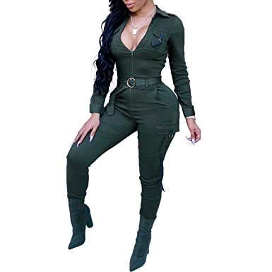 34561617556 Amazon.com  Womens Casual Jumpsuit - Long Sleeve Zip Up Patchwork Sexy  Party Jumpsuits Rompers One Piece Suits  Clothing