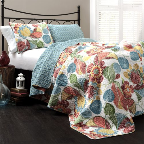 Lush Decor Layla Quilt Floral Leaf Print 3 Piece Reversible Bedding Set Full/Queen Orange & Blue ()