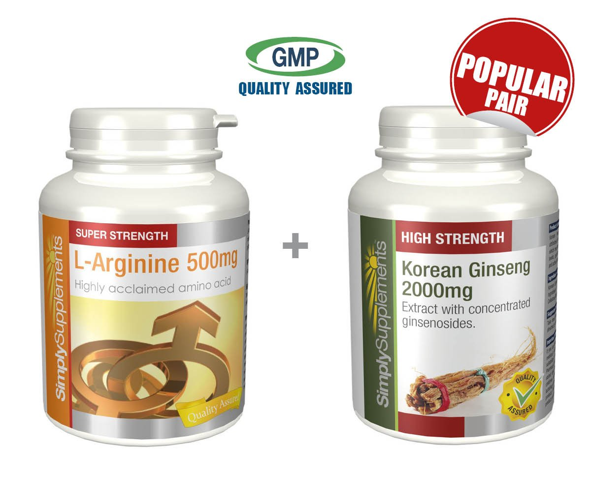 SimplySupplements L-Arginine 500mg 240 Capsules + Korean Ginseng 2000mg 360 Tablets |Energy Booster by SimplySupplements