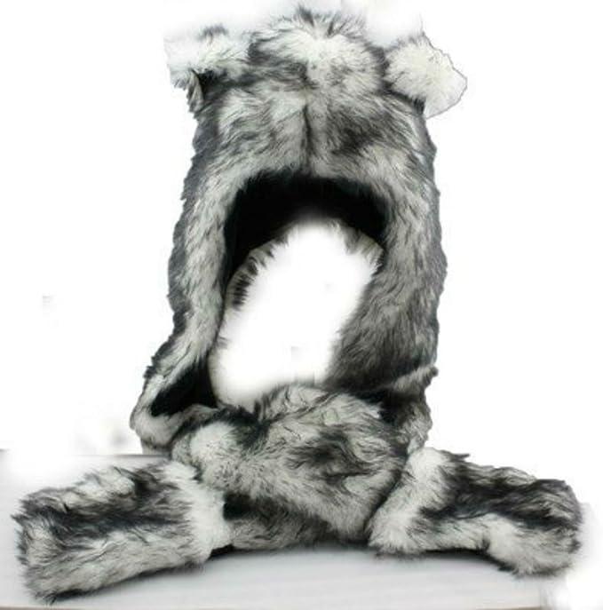 681c3450 Amazon.com: Grey Gray Wolf Anime Faux Animal Hood Hoods Mittens ...