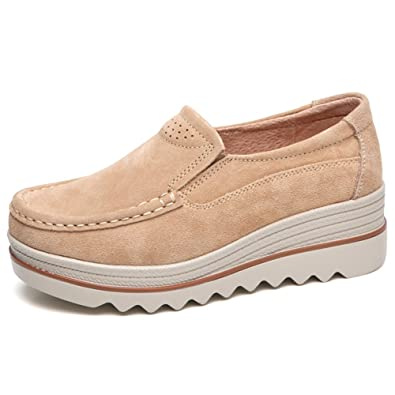 57afc1e68b58 LakeRom Women s Shoes for Platform Loafers Slip on Shoes Suede Wide Low Top  Wedge Shoes Work