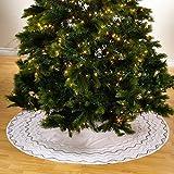SARO LIFESTYLE BDD01.W52R Occasions Sparkling Holiday Tree Skirt 52 Inch Round, White, 52''
