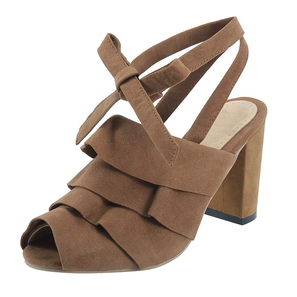 Women's Heeled Sandals Retro Ankle Strap Chunky Heel Ruffles Peep Toe Shoes Sexy Cross Tied Roman Wedges Flatform Shoe (Brown, US:6.5) by Cealu