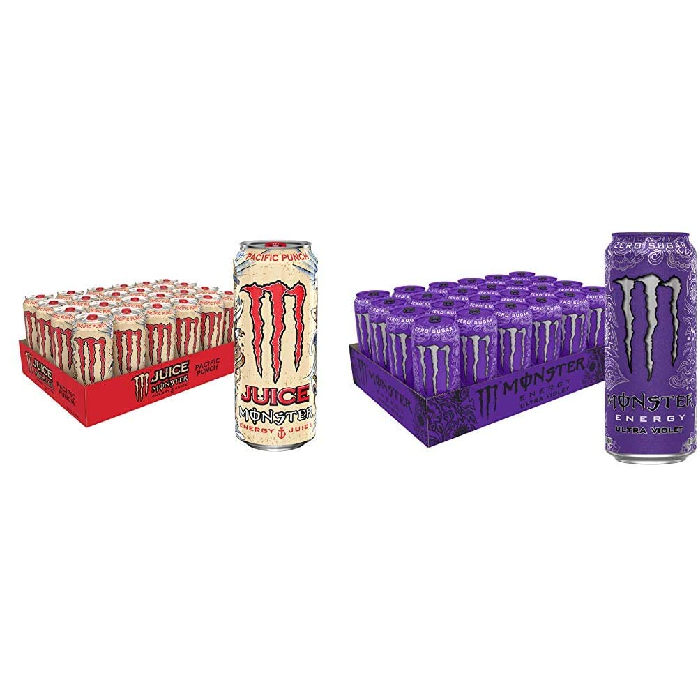 Juice Monster Pacific Punch, Energy + Juice, Energy Drink, 16 Ounce (Pack of 24) & Monster Energy Ultra Violet, Sugar Free Energy Drink, 16 Ounce (Pack of 24)