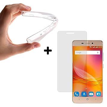 BeScreen - Funda Gel Flexible ZTE Blade A452 [ +1 Protector Cristal Vidrio Templado ] Carcasa Case Silicona TPU Suave
