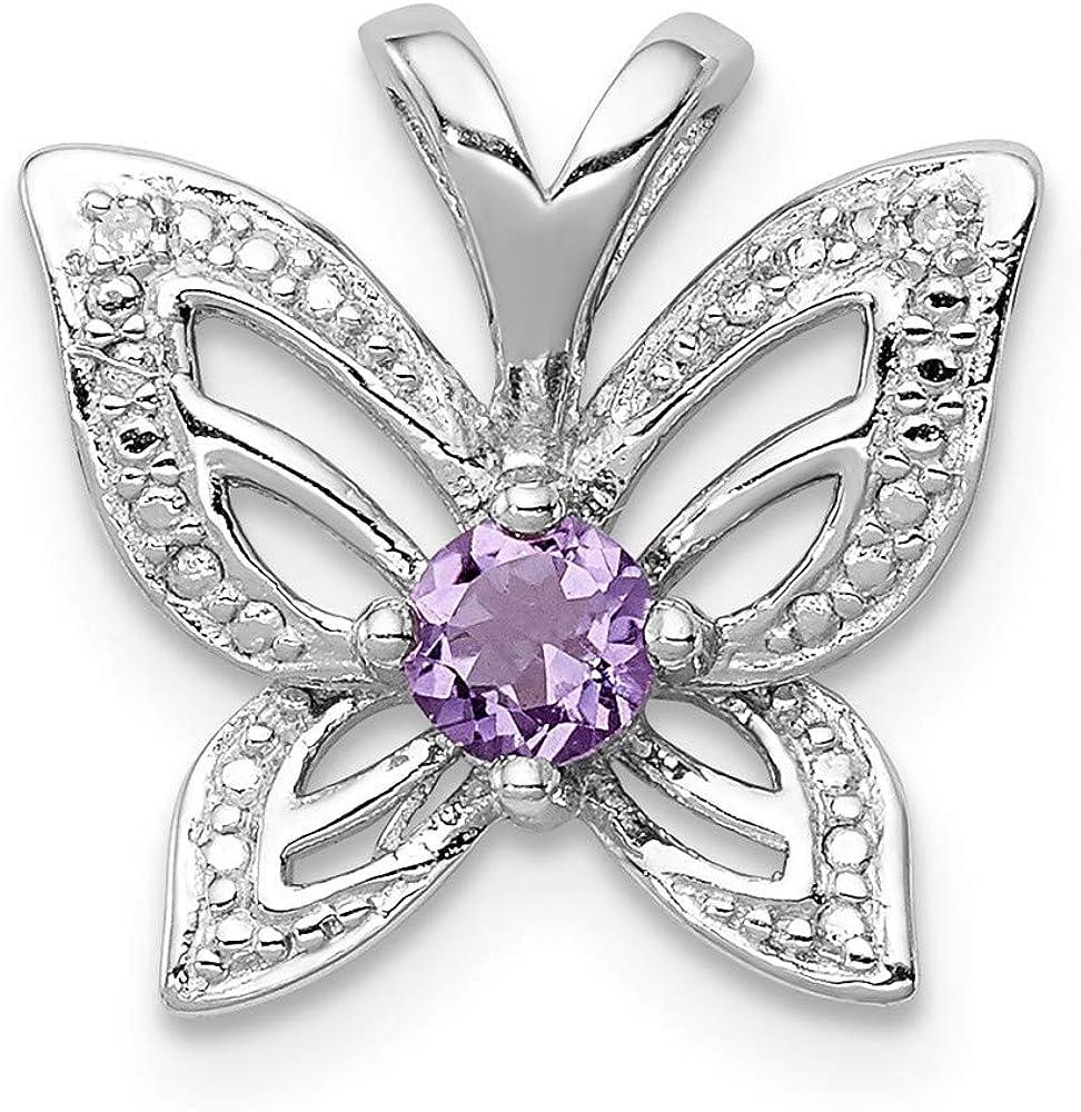 Sterling Silver Rhodium-plated Amethyst /& Diamond Pendant