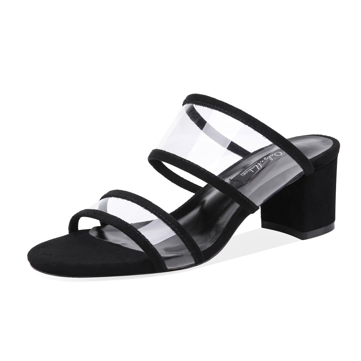 d8729d65a62 onlymaker Womens PVC Clear Double Straps Block Heel Slide Sandals Open Toe  Slip on Mule Dress Slippers Summer Shoes