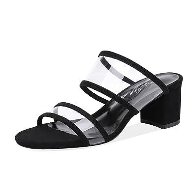 ae0c74a6529 Onlymaker Womens PVC Clear Double Straps Block Heel Slide Sandals Open Toe  Slip on Mule Dress