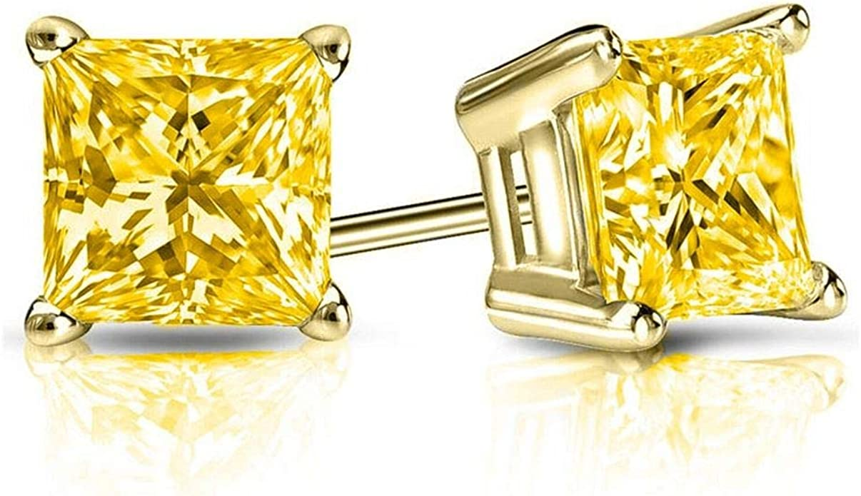 1.00 CT Princess Cut CZ Diamond Stud Earrings in 18K Yellow Gold Brilliant Cut Basket Screw Back