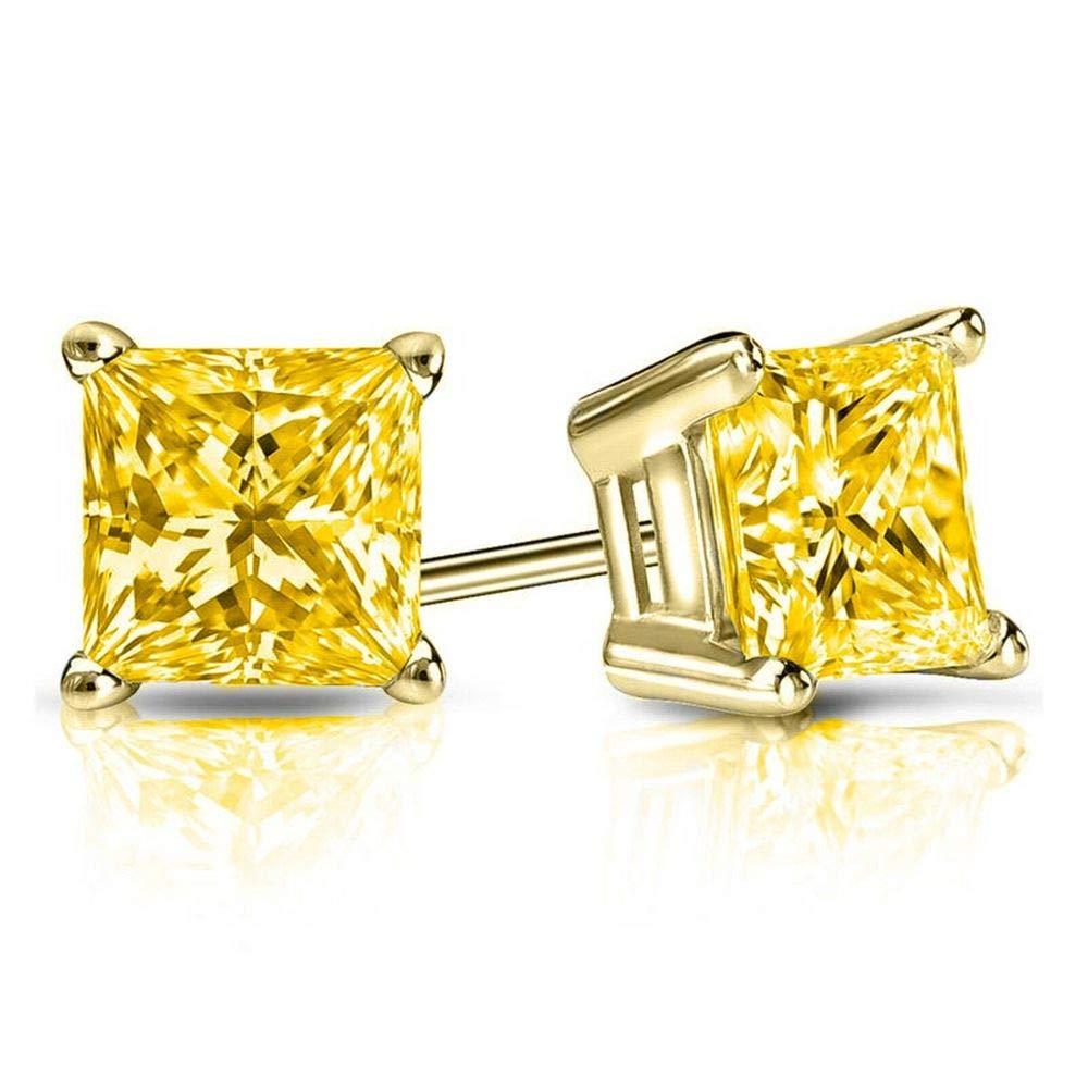 4.00 CT Canary Yellow Princess Cut CZ Diamond Stud Earrings in 14k Yellow Gold Basket Screw Back
