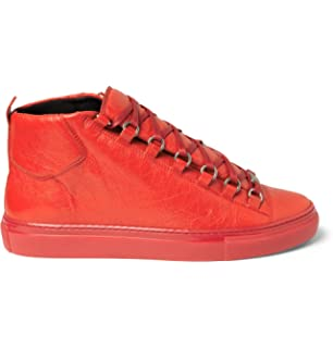 71589b4d6ba Balenciaga Mens Arena High Top Rouge Grenade Red Lambskin Leather Trainer  Size 43 EU