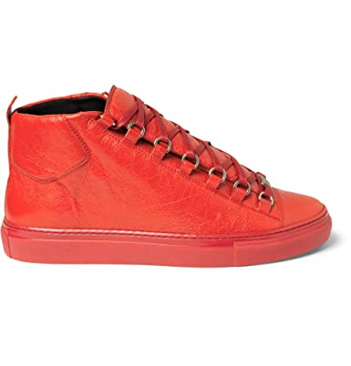 fb416739cc3c Balenciaga Mens Arena High Top Rouge Grenade Red Lambskin Leather Trainer  Size 43 EU  Amazon.co.uk  Shoes   Bags