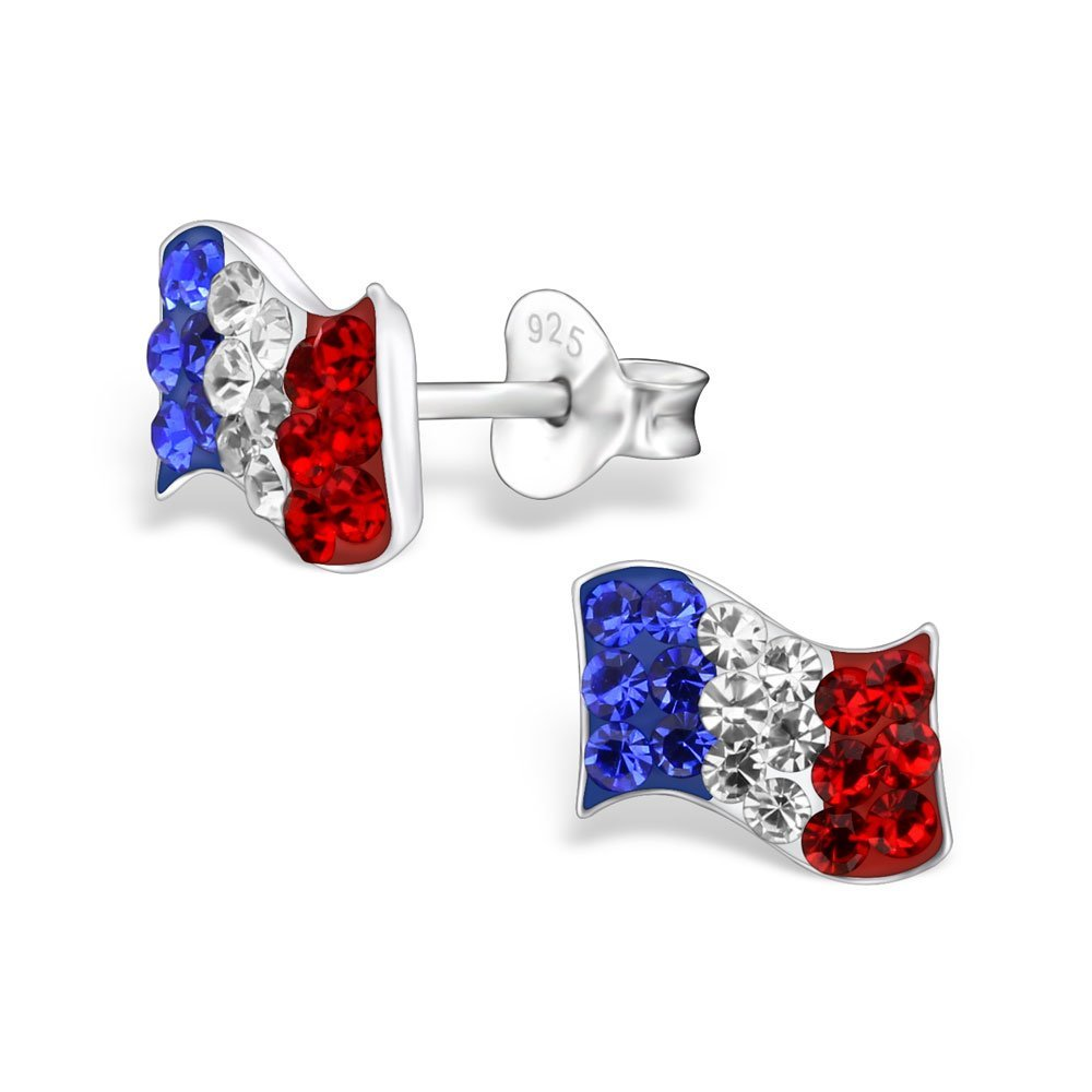 925 Sterling Silver France Flag w/ Crystals Stud Earrings 28006
