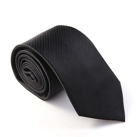 Sumferkyh Corbata Negra con Lazo de poliéster sólido para Hombre ...