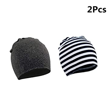YIYI Baby Beanie Hat 2Pcs Autumn and Winter Cotton Cap Soft Double Layered Hats Cute Hats Cap Beanie for Unisex Baby Boy Girl Kids Toddler Infant Aged 1-3