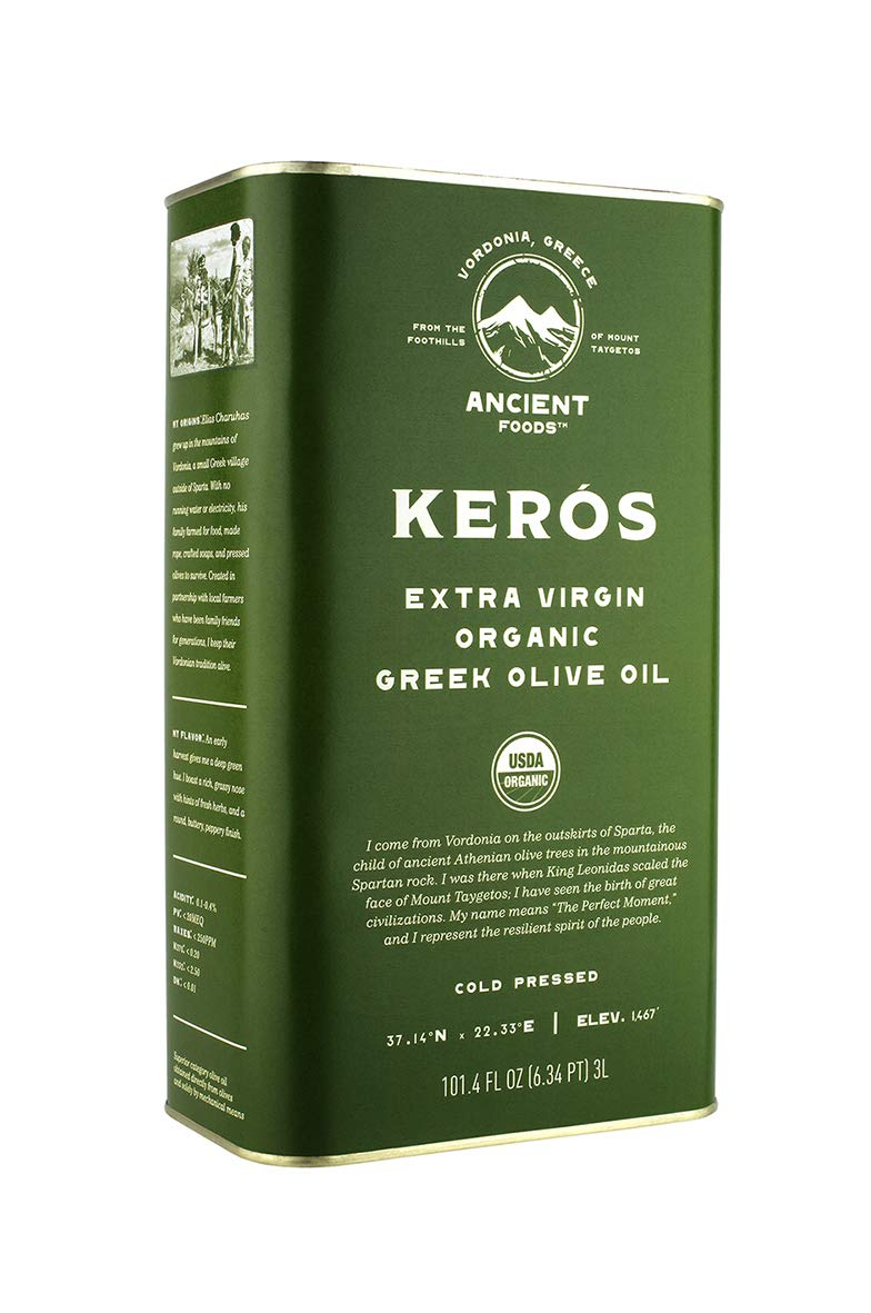 Ancient Foods – Organic Greek Extra Virgin Olive Oil - Cold Pressed – 1000 Year Old Trees – High Phenolic - Chefs Favorite - Mountain Keros - 101oz (3L)