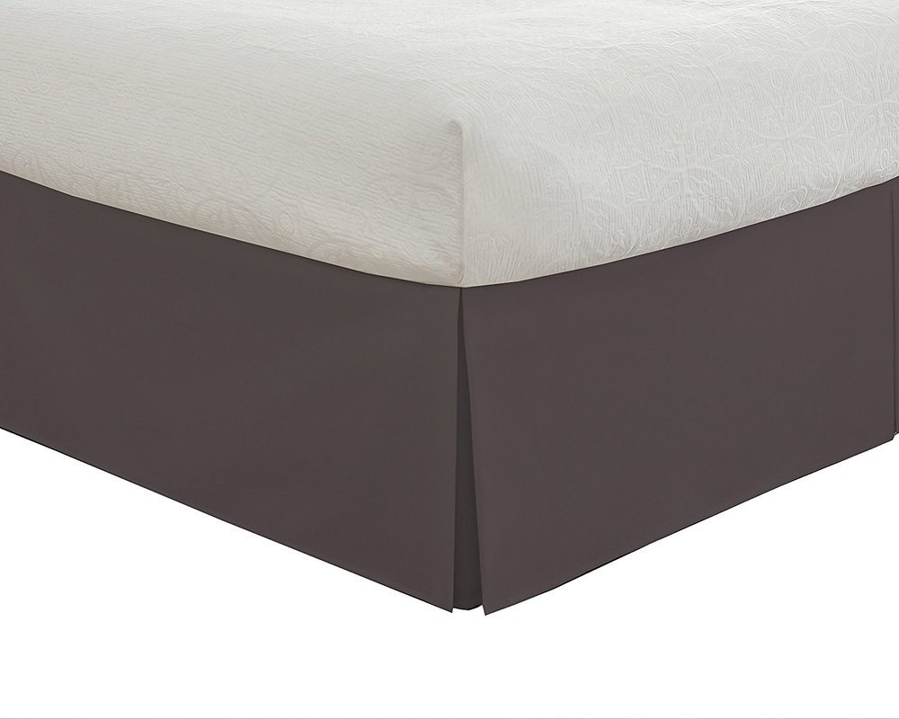 12'' Drop Length Hotel Quality 600TC 1PC Pleated Bed Skirt 100% Egyptian Cotton 600 Thread Count {King , Dark Grey Solid}