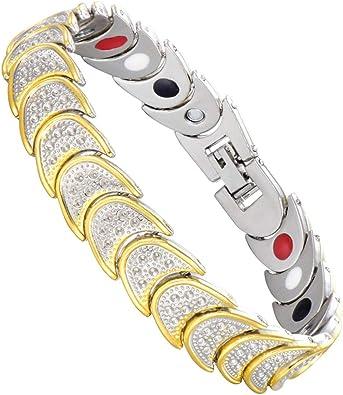 AH-Pulseras Magnetica Mujer Sana, Pulsera Hombres Oro Luna (Caja Regalo + Removedor Enlace) 8.26/9.84 Pulgada Alivio Dolor Artritis Terapia con Anklet Joyería Cobre (Luna Oro): Amazon.es: Joyería