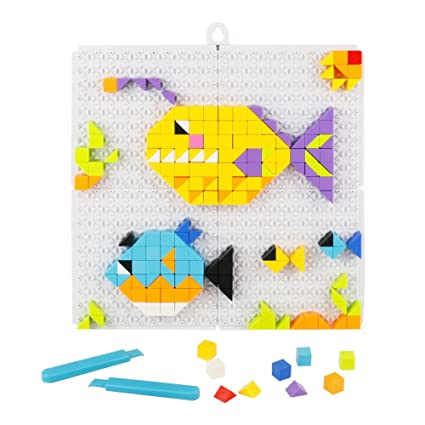 KAIST Building Bricks Pegboard Mosaic Kit Jigsaw Puzzle Colorful Designs DIY Parent Child Interaction Birthday