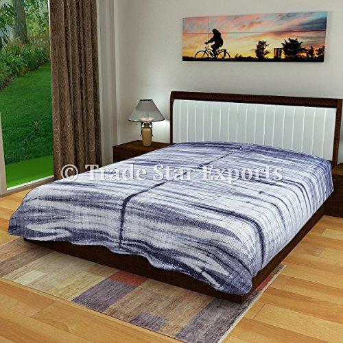 Indian Kantha Quilt, Indigo Bedspread, Handmade Quilts Queen Size, Shibori Bedding, Tie Dye Quilt, Cotton Bedcover (Pattern 5)