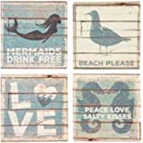 Primitives By Kathy Beach Stone Coasters Set of 4