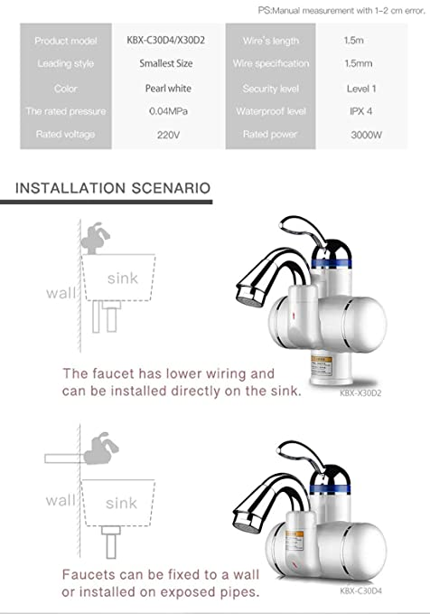 Kitchen Bathroom Instantaneous Water Heater Tap Stainless Steel Heating Tankless Electric Water Heater Faucet, C30D4 - - Amazon.com