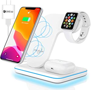 Wireless Charger 3 in 1 Charging Station for Latest Airpods iPhone Watch, TPLISAK Charging Dock Stand Compatible iPhone 11 Series/XS MAX/XR/XS/X/8/8Plus Apple iWatch SE/6/5/4/3/2/1 Airpods Pro/2