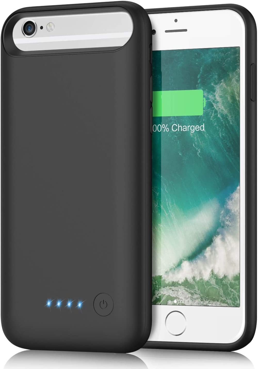 Battery Case for iPhone 6s/ 6/8/ 7, kilponen 6000mAh Portable Rechargeable Charging Case Extended Battery Pack for iPhone 8/7/6s/6 (4.7 inch) Protective Backup Charger Case-Black