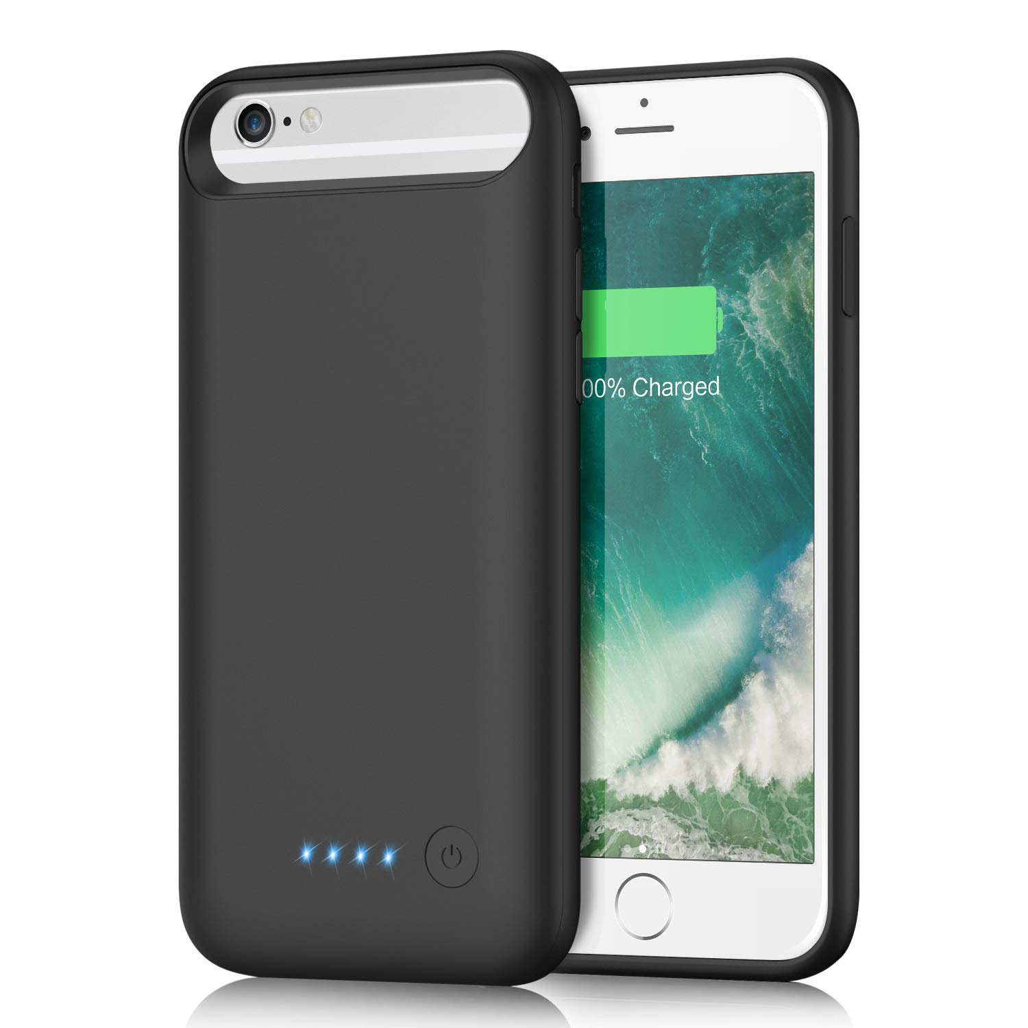 kilponen Battery Case for iPhone 6s/ 6/8/ 7, 6000mAh Portable Rechargeable Charging Case Extended Battery Pack for iPhone 8/7/6s/6 (4.7 inch) Protective Backup Charger Case-Black