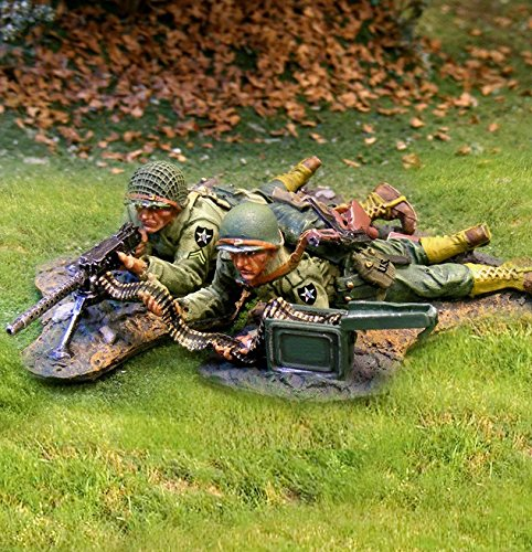 WWII D-Day Toy Soldiers US 2nd Infantry Division Machine Gun Team Collectors Showcase Toy Soldiers Painted Metal CS00585 Britains ()