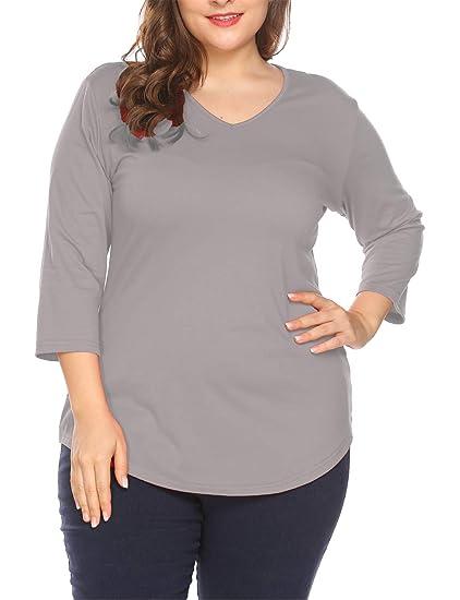 bbdb10054aa Amazon.com  Sweetnight Women Plus Size 3 4 Sleeve T Shirts Asymmetric Hem  Casual Tee Tops L-3XL  Clothing