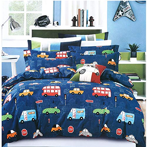 EsyDream Cars Kids Duvet Cover Set Twin Queen Size Cartoon Cars Kids/Boys Bedding Bedlinen No Quilt Modern London City Cars Print Men's School Bedlinen Sheet(US Quee Size Color 3) ()