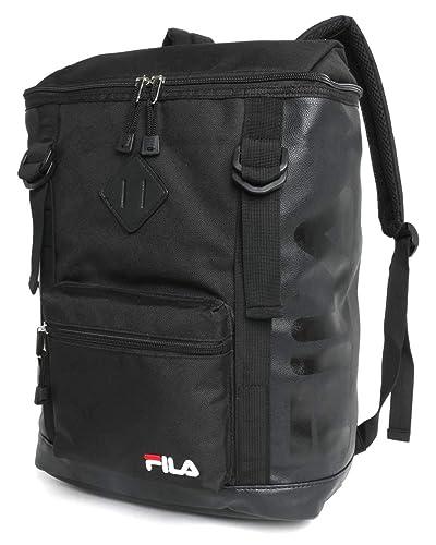 38852a87640e Amazon | [フィラ] リュック ブランド ロゴ PC収納 ブラック(ブラック ...