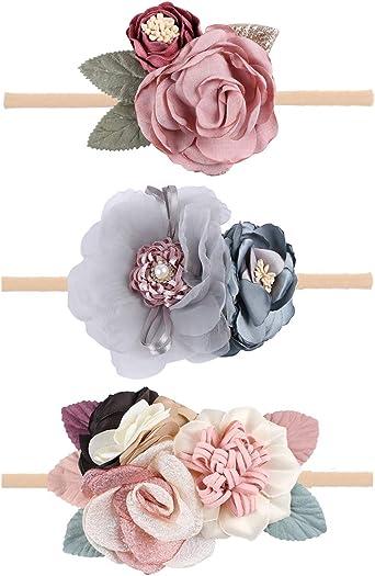 Pastel blue nylon bow baby girls newborn headband cute pretty white rose flower