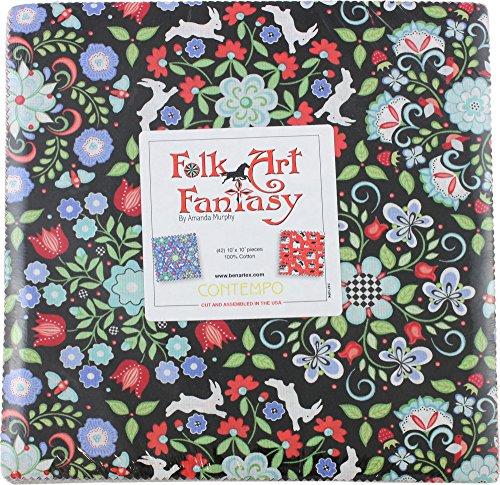 Quilt Fabric Folk Art (Amanda Murphy Folk Art Fantasy 10X10 Pack 42 10-inch Squares Layer Cake Benartex)
