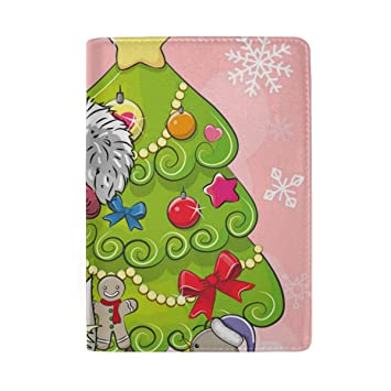 Christmas Red And Green Leather Passport Holder Cover Case Blocking Travel Wallet