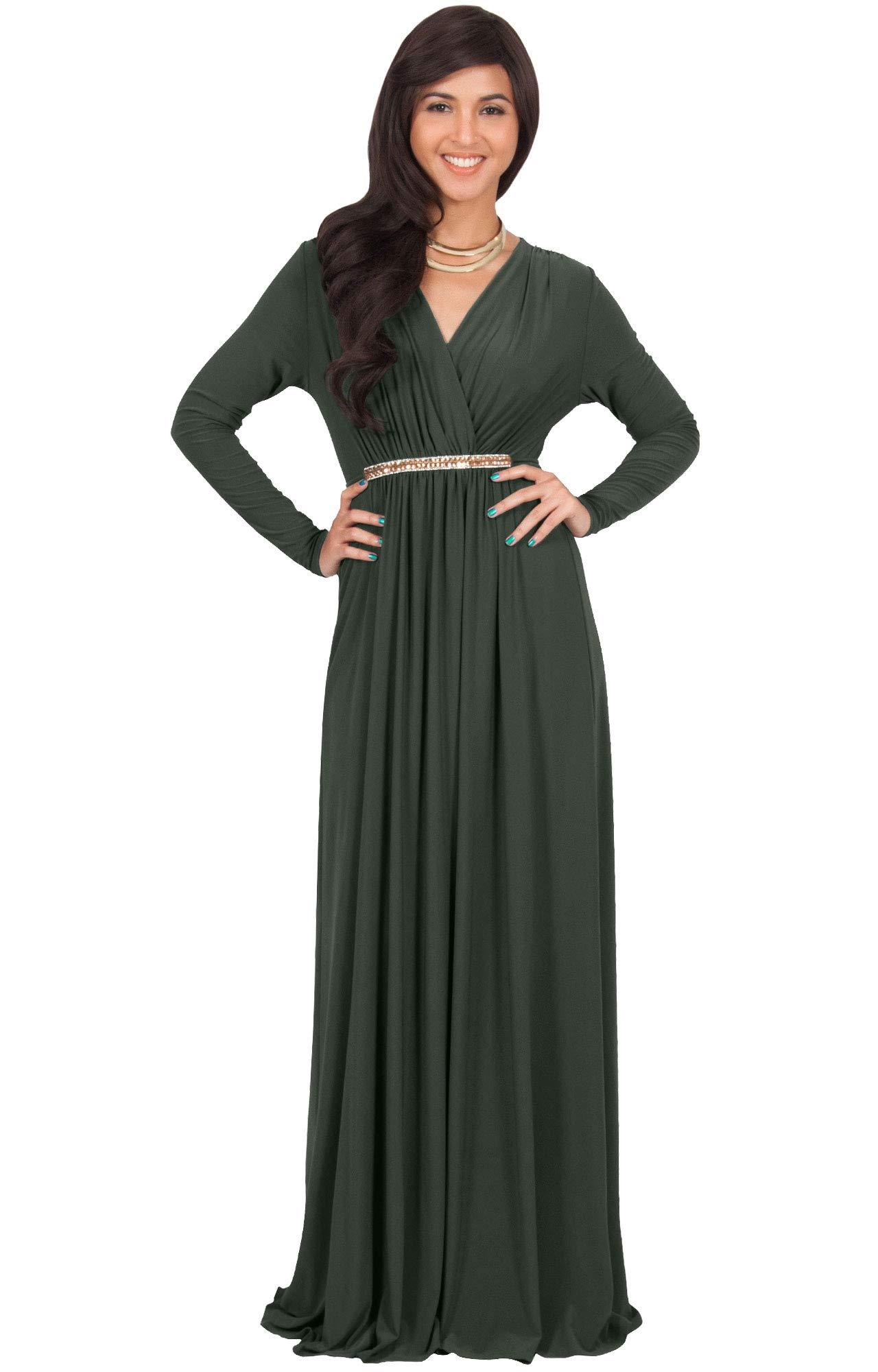 31c6f70c6dc KOH KOH Petite Womens Long Sleeve Sleeves Kaftan V-Neck Flowy Formal Wedding  Guest Fall Winter Evening Day Empire Waist Abaya Muslim Gown Gowns Maxi  Dress ...