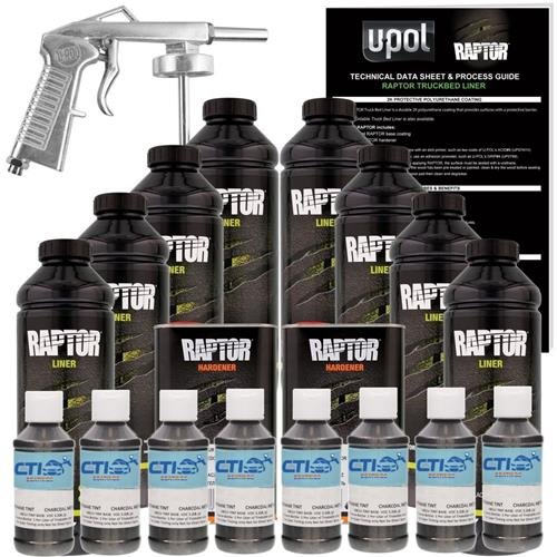 U-POL Raptor Charcoal Metallic Urethane Spray-On Truck Bed Liner Kit w/ Free Spray Gun, 8 Liters