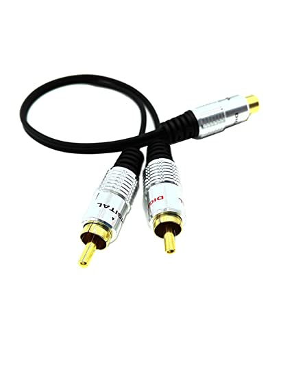 SinLoon RCA Y-Adapter Audio Cable,Premium Aluminium Alloy Single RCA Female to 2