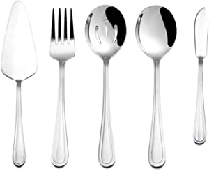 5-Piece Silverware Serving Set, HaWare Stainless Steel Spoon/Fork/Pie Server for Wedding Buffets Party, Modern Elegant Design, Mirror Polished, Dishwasher Safe