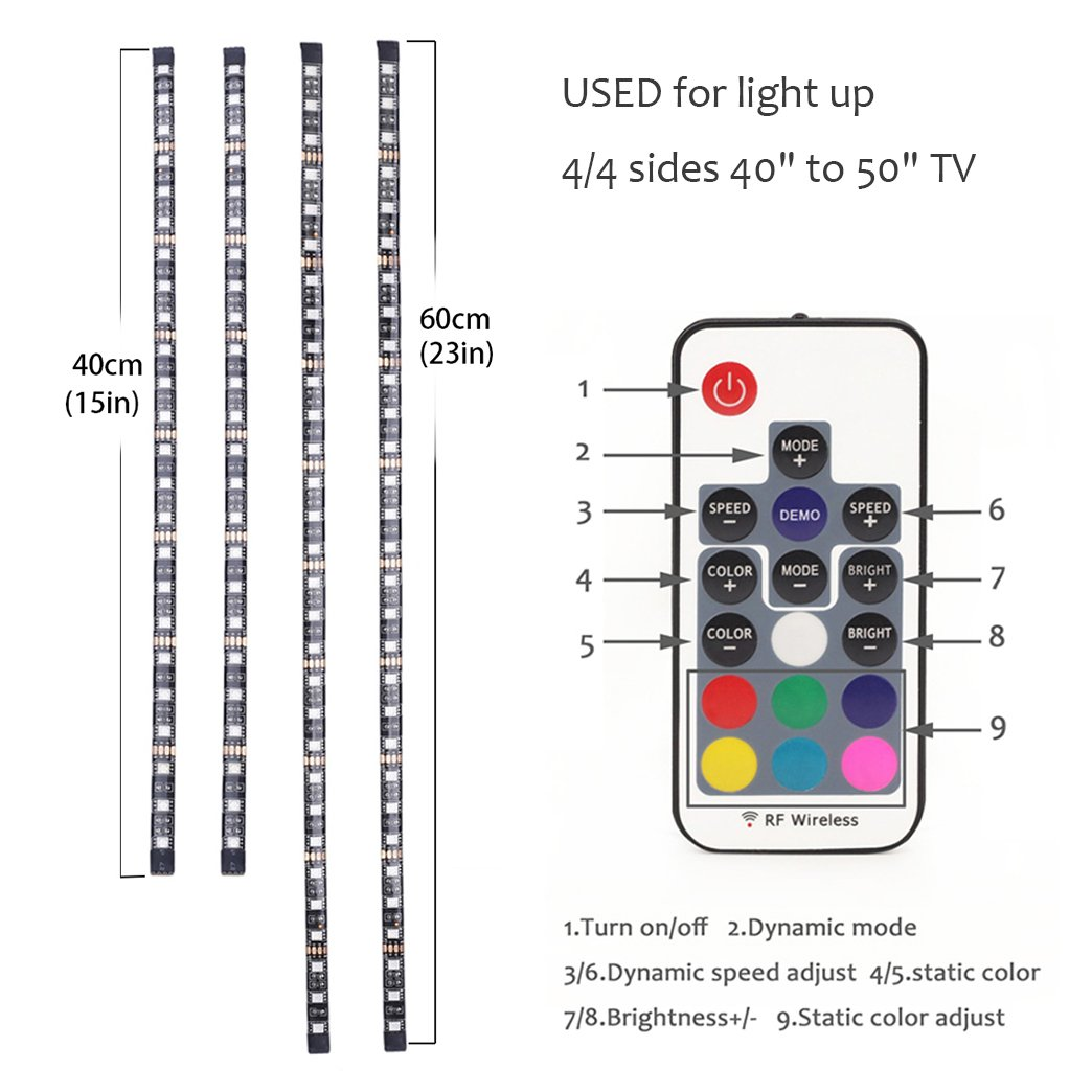 TV Colorful Backlight,USB LED Lighting Strip for Bias Lighting HDTV,Flexible Neon LED Lights 6.5ft/2M with Remote Control Decorate for Desktop PC,Tender Light Background Lighting Kit